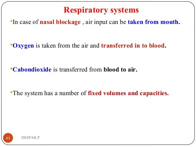 Respiratory systems In case of nasal blockage , air input can be taken from mouth. Oxygen is taken from the air and tran...