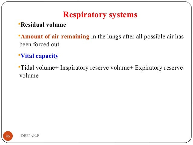Respiratory systems Residual volume Amount of air remaining in the lungs after all possible air has been forced out. Vi...