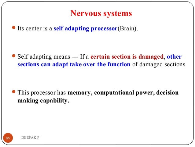 Nervous systems Its center is a self adapting processor(Brain). Self adapting means --- If a certain section is damaged,...
