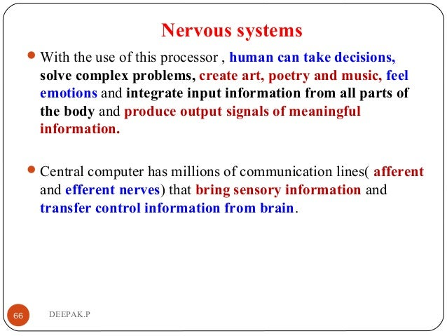 Nervous systems With the use of this processor , human can take decisions, solve complex problems, create art, poetry and...