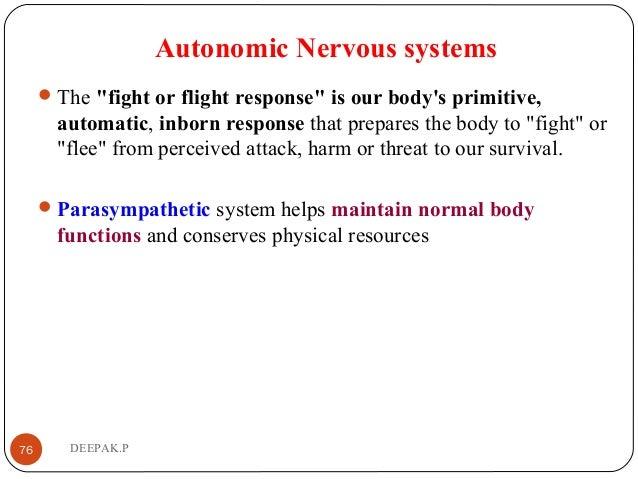 "Autonomic Nervous systems The ""fight or flight response"" is our body's primitive, automatic, inborn response that prepare..."