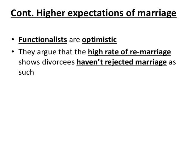 • Functionalists are optimistic • They argue that the high rate of re-marriage shows divorcees haven't rejected marriage a...