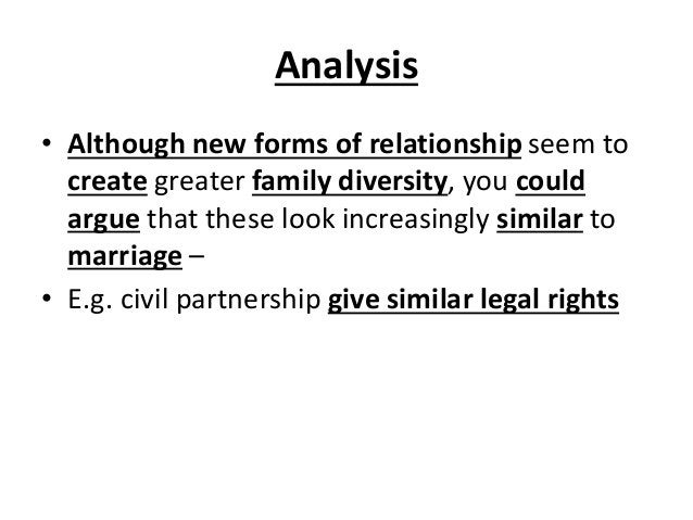 Analysis • Although new forms of relationship seem to create greater family diversity, you could argue that these look inc...