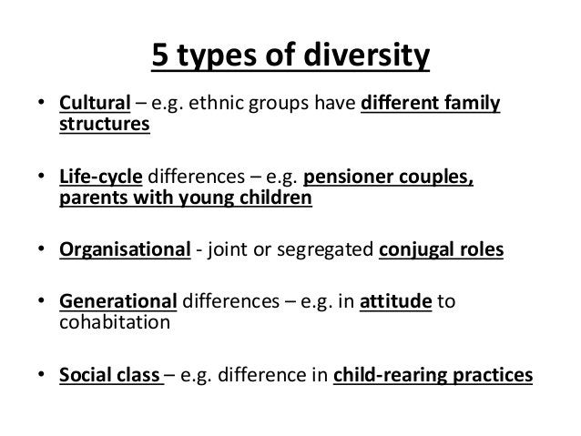 5 types of diversity • Cultural – e.g. ethnic groups have different family structures • Life-cycle differences – e.g. pens...