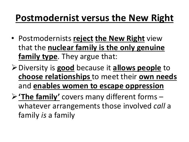 Postmodernist versus the New Right • Postmodernists reject the New Right view that the nuclear family is the only genuine ...