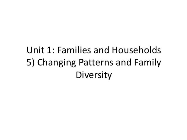 Unit 1: Families and Households 5) Changing Patterns and Family Diversity