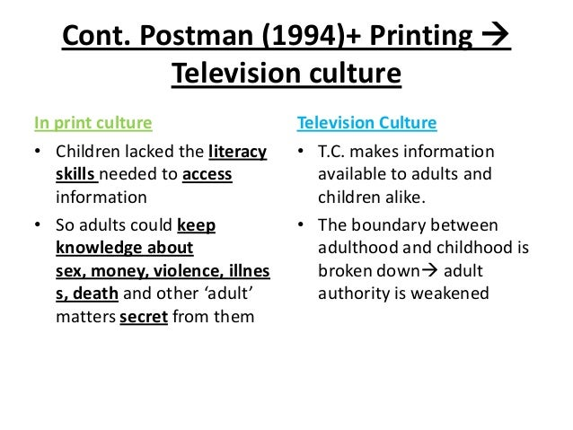Cont. Postman (1994)+ Printing  Television culture In print culture • Children lacked the literacy skills needed to acces...