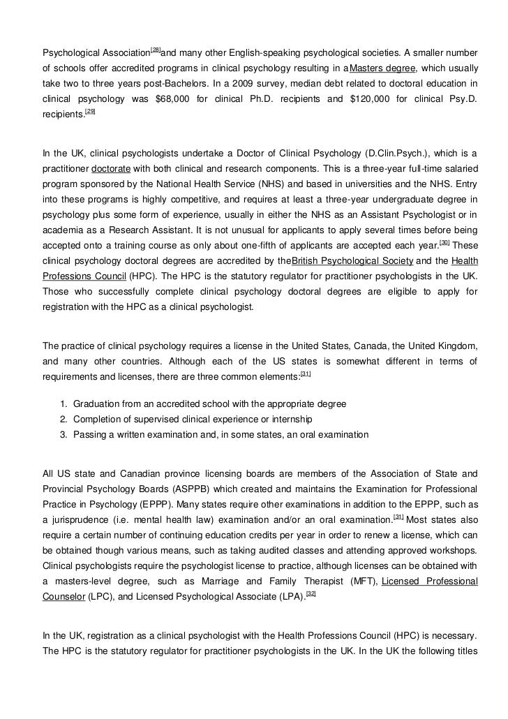Unit 1, Clinical Psychology