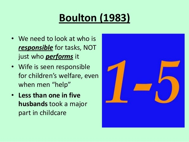 Boulton (1983) • We need to look at who is responsible for tasks, NOT just who performs it • Wife is seen responsible for ...