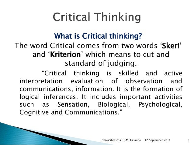 Critical thinking model definition dictionary