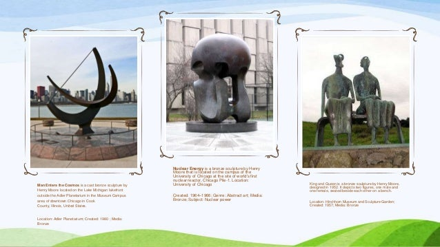 Man Enters the Cosmos is a cast bronze sculpture by Henry Moore located on the Lake Michigan lakefront outside the Adler P...