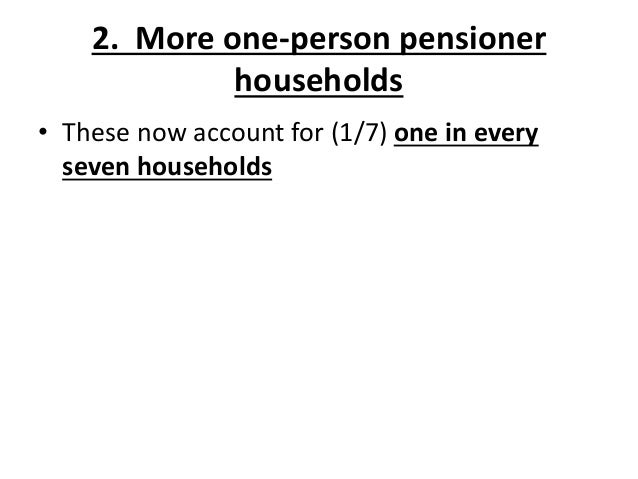 2. More one-person pensioner households • These now account for (1/7) one in every seven households