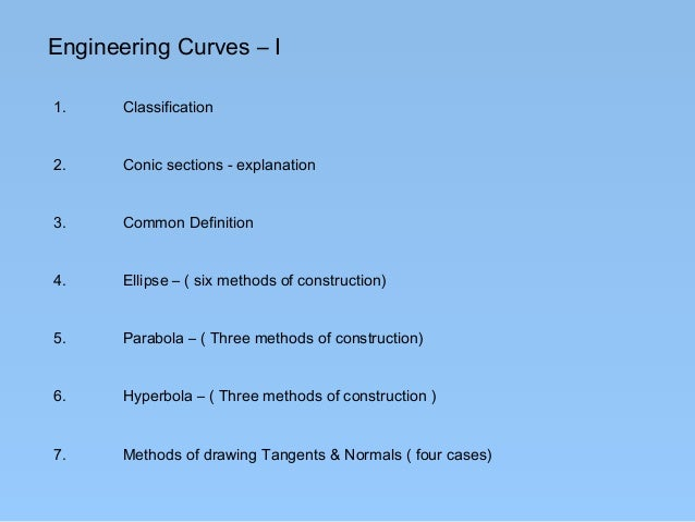 Engineering Curves – I1.     Classification2.     Conic sections - explanation3.     Common Definition4.     Ellipse – ( s...