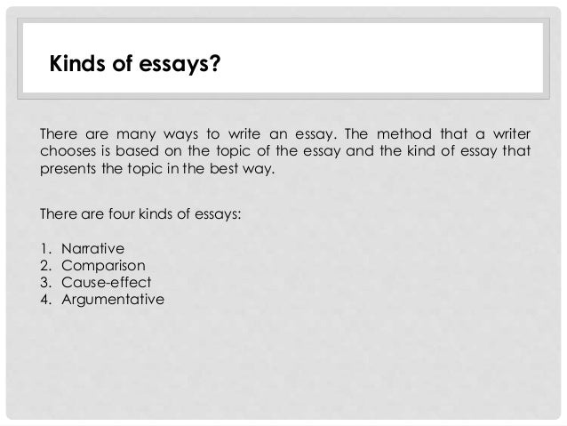 Kinds Of Essays  Underfontanacountryinncom Kinds Of Essay Writing Unit  Exploring The Essay Evaluative Essay