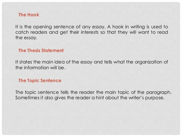 unit exploring the essay 6 the hook it is the opening sentence of any essay