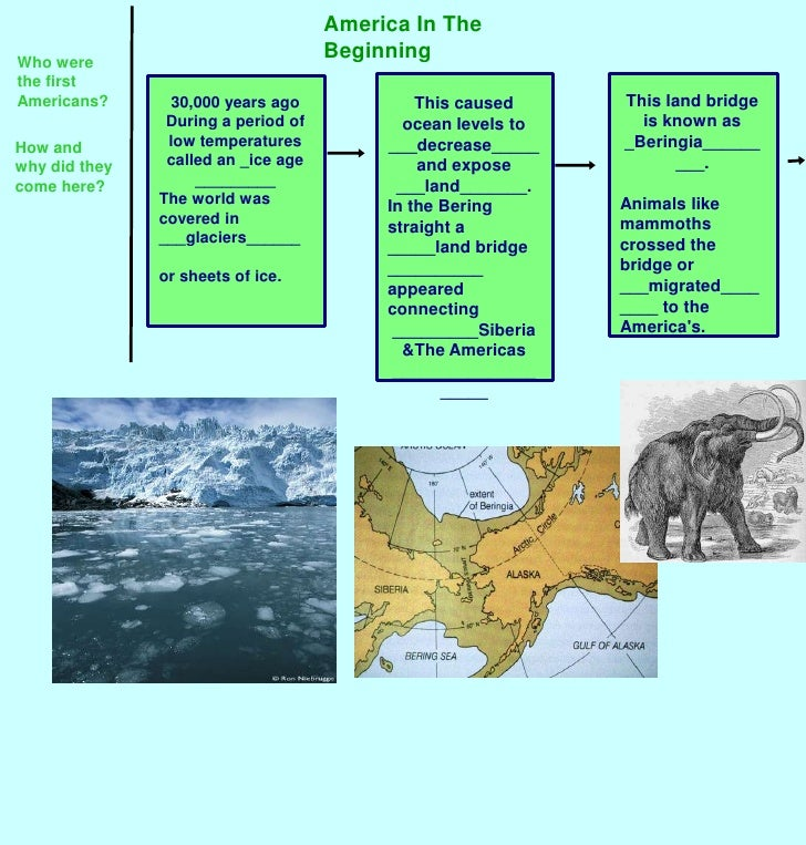 America In The Beginning<br />Who were the first Americans?<br />This land bridge is known as _Beringia_________.<br />Ani...