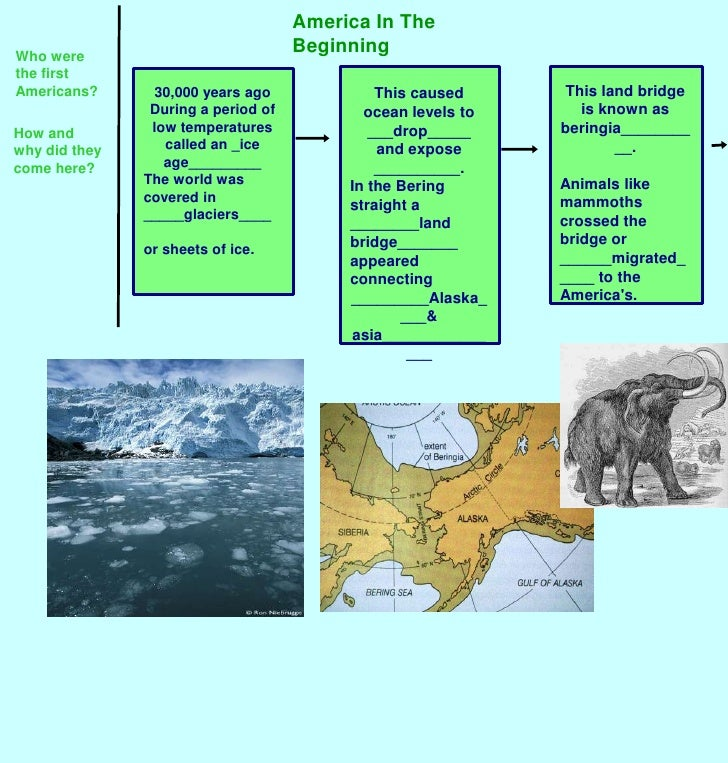 America In The Beginning<br />Who were the first Americans?<br />This land bridge is known as beringia__________.<br />Ani...