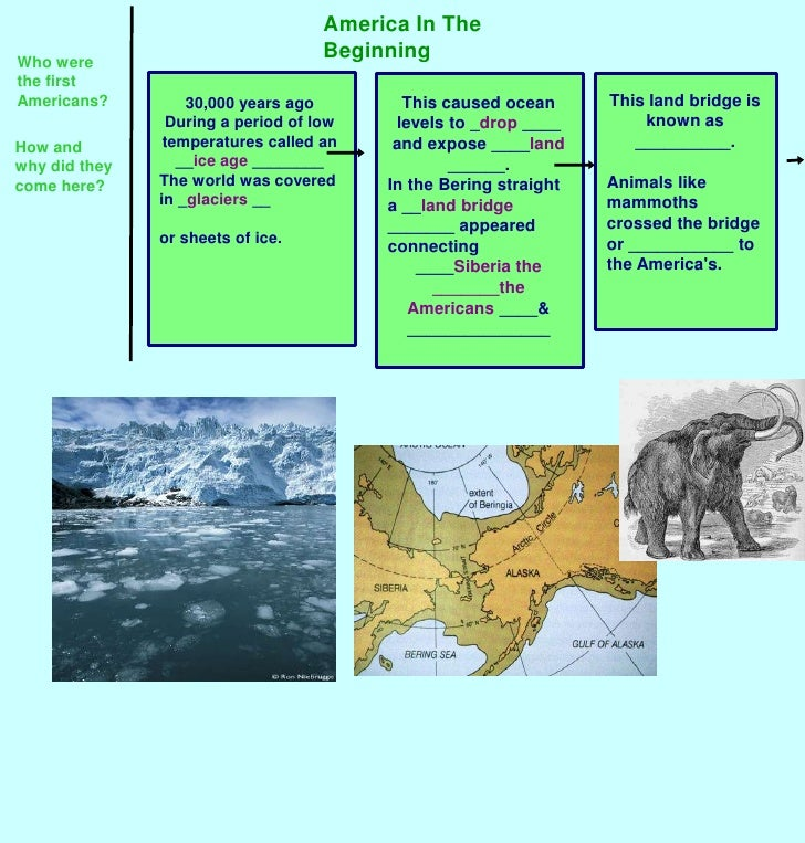 America In The Beginning<br />Who were the first Americans?<br />This land bridge is known as __________.<br />Animals lik...