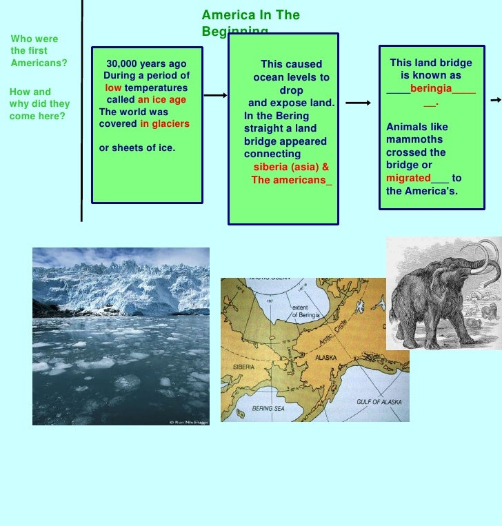 America In The Beginning<br />Who were the first Americans?<br />This land bridge is known as ____beringia______.<br />Ani...