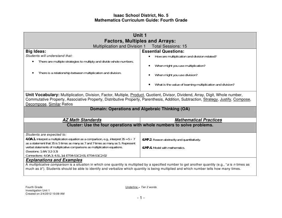 Isaac School District, No. 5                                                      Mathematics Curriculum Guide: Fourth Gra...