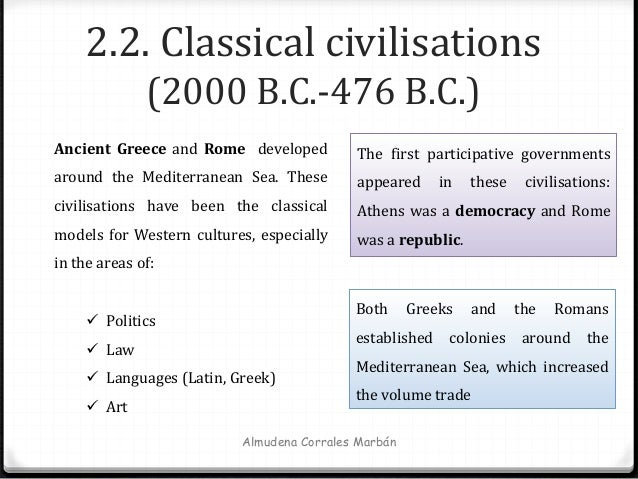 2.2. Classical civilisations (2000 B.C.-476 B.C.) Almudena Corrales Marbán Ancient Greece and Rome developed around the Me...