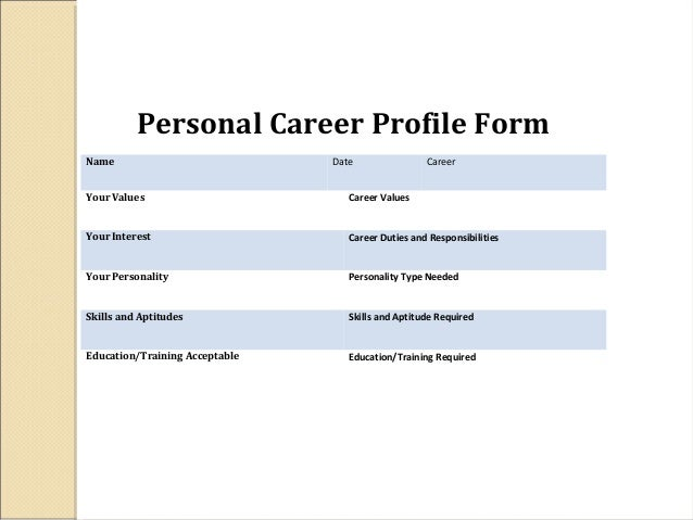 career profile My career profile use this worksheet to start brainstorming what belongs on your career profile—to tell your story to the usc community as you explore.