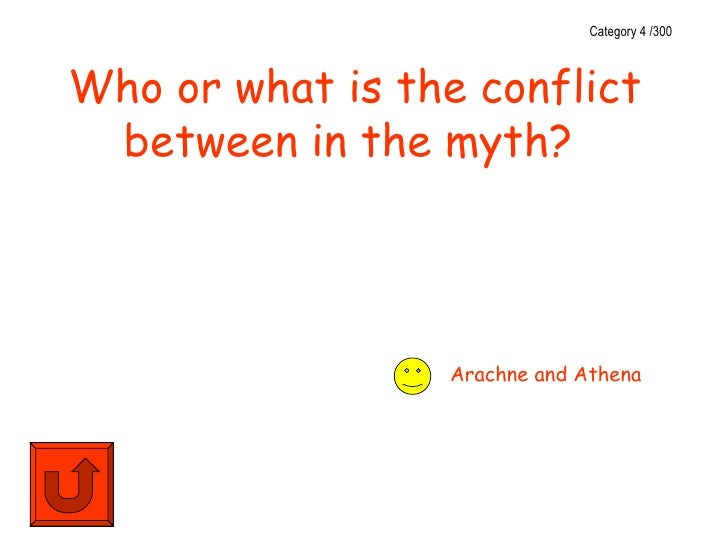 Category 4 /300Who or what is the conflict between in the myth?                 Arachne and Athena