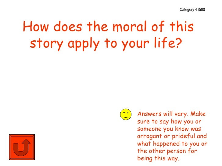 Category 4 /500How does the moral of this story apply to your life?                 Answers will vary. Make               ...