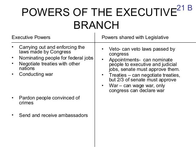 the powers of the executive branch Shmoop: growth of presidential power, us government study guide growth of presidential power analysis by phd and masters students from stanford, harvard, berkeley skip to introducing the doctrine of executive privilege and making a point about the autonomy of the executive branch.