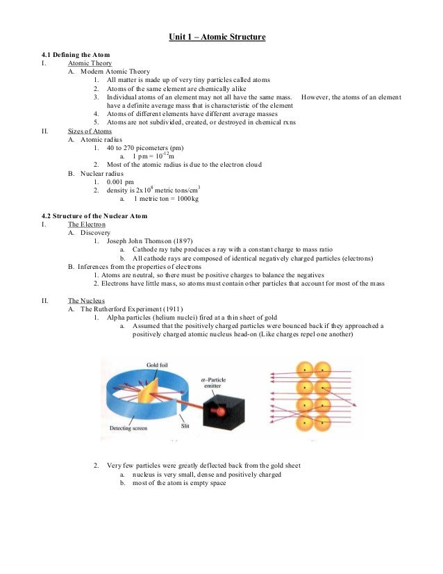Unit 1 – Atomic Structure 4.1 Defining the Atom I. Atomic Theory A. Modern Atomic Theory 1. All matter is made up of very ...