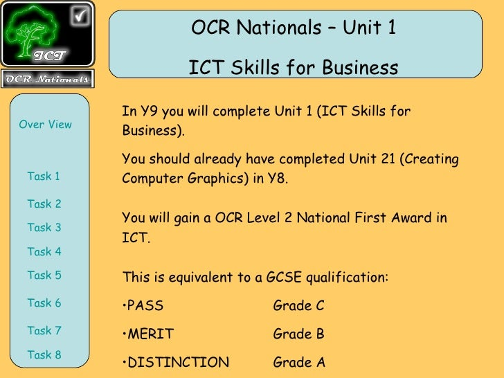 <ul><li>In Y9 you will complete Unit 1 (ICT Skills for Business).  </li></ul><ul><li>You should already have completed Uni...