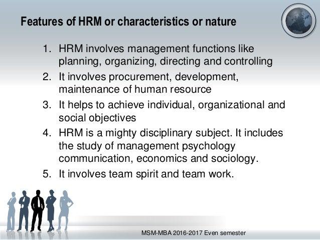 characteristics of hrm