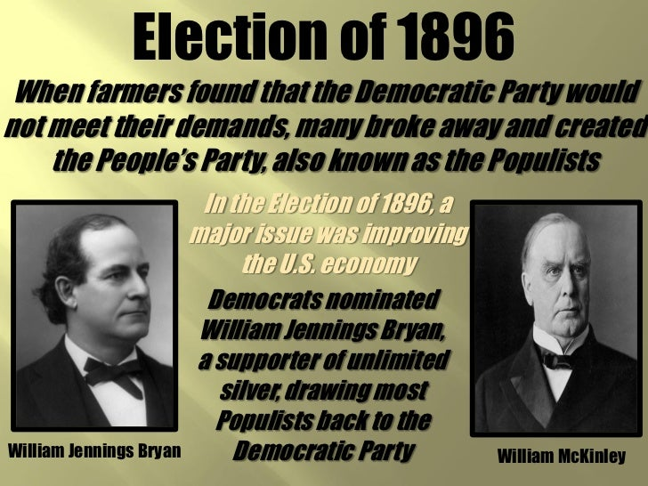 the election of 1896 Include election campaign documents, vice presidential documents citation: republican party platforms: republican party platform of 1896, june 18, 1896.