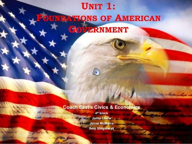 UNIT 1:FOUNDATIONS OF AMERICAN     GOVERNMENT    Coach East's Civics & Economics                 4th block               J...
