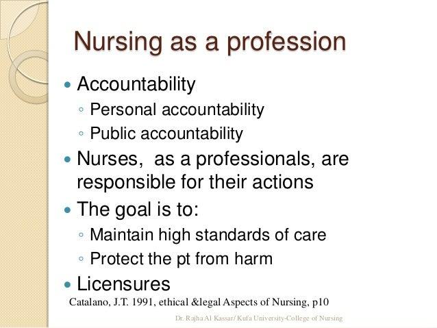 4 areas of accountability in nursing