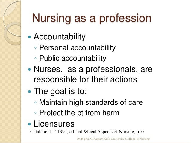 accountability of nursing professionals Rns' authority to practice nursing derives from a social contract delineating nurses' rights and responsibilities for remaining accountable to the public.