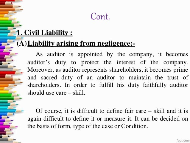 liabilities of company auditor