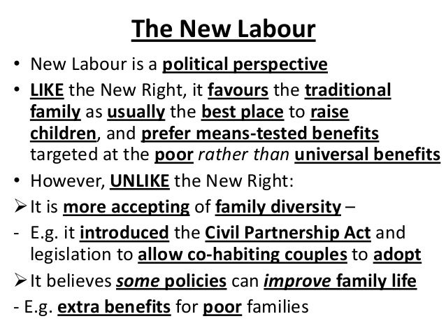 The New Labour • New Labour is a political perspective • LIKE the New Right, it favours the traditional family as usually ...