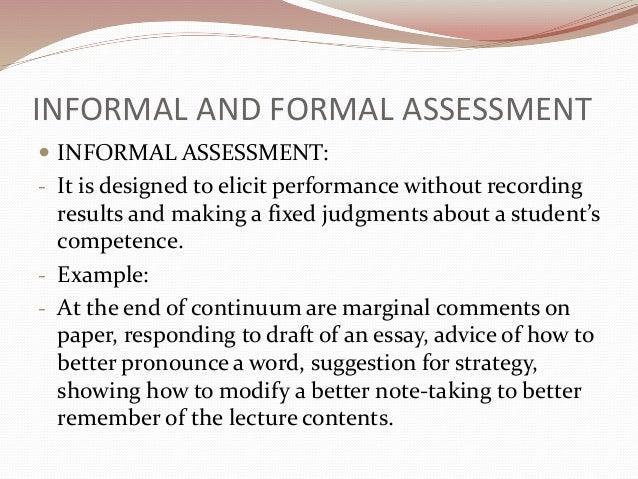 formal and informal performance assessment