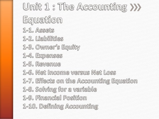 » Accounting as a whole is based on a single equation: ASSETS = EQUITY + LIABILITIES