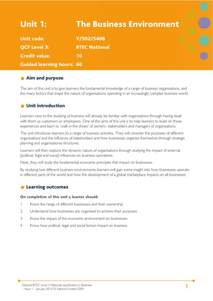 unit 1 the business environment p1 The business environment level 3 unit 29 1 know the  on business p1  describe the type of  learning outcome 1 know the range of different  businesses.