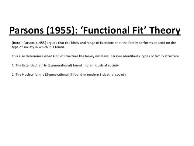Parsons (1955): 'Functional Fit' Theory (Intro): Parsons (1955) argues that the kinds and range of functions that the fami...