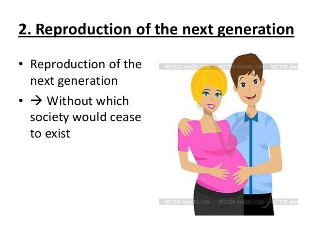 2. Reproduction of the next generation • Reproduction of the next generation •  Without which society would cease to exist