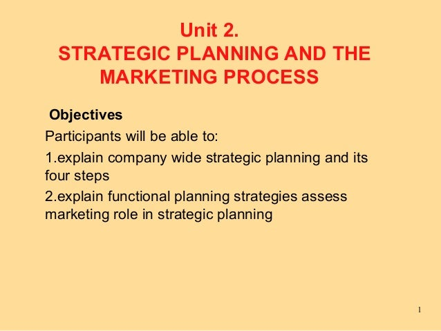 Unit 2.  STRATEGIC PLANNING AND THE     MARKETING PROCESS ObjectivesParticipants will be able to:1.explain company wide st...
