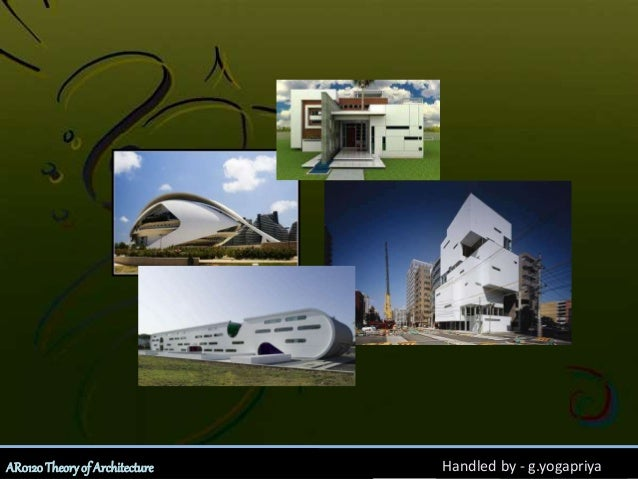 Unit - 2Introduction to ArchitectureAR0120Theoryof Architecture Handled by - g.yogapriya