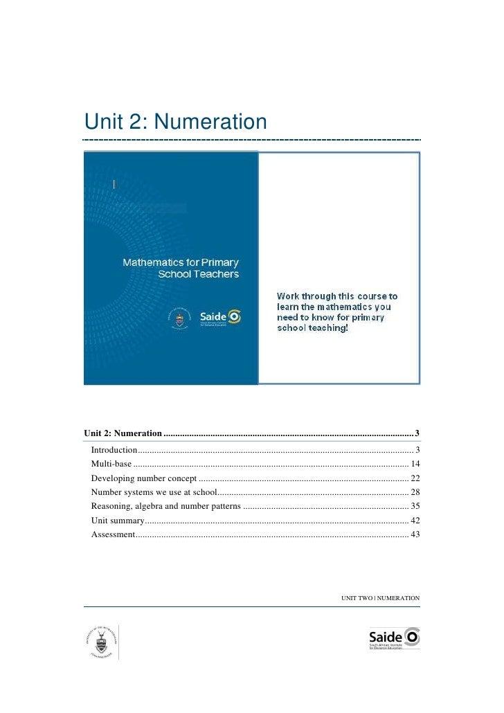 Unit 2: NumerationUnit 2: Numeration ........................................................................................