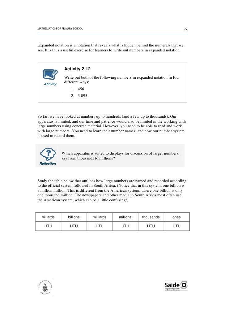 Mathematics For Primary School Teachers Unit 2 Numeration
