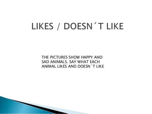 THE PICTURES SHOW HAPPY AND SAD ANIMALS. SAY WHAT EACH ANIMAL LIKES AND DOESN´T LIKE