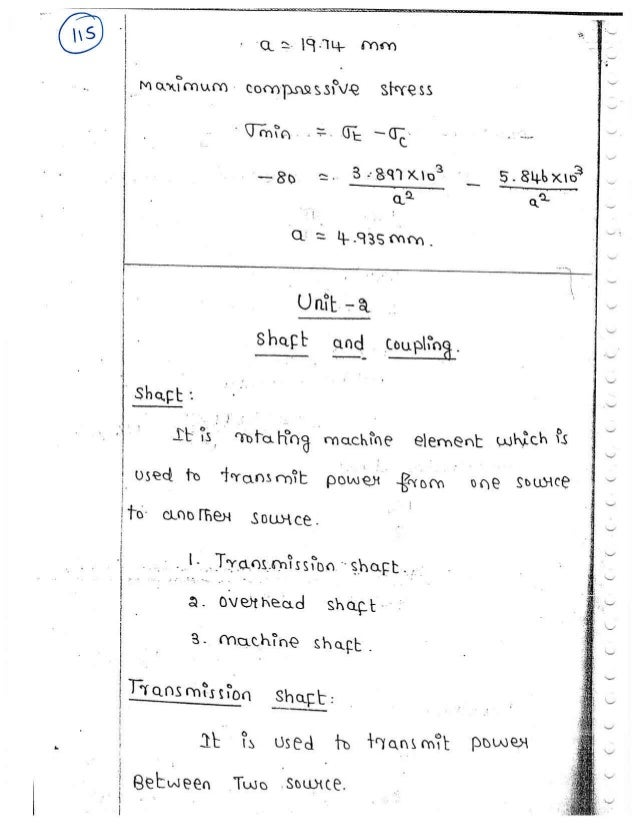 Me6503 Design Of Machine Elements Unit Ii Notes