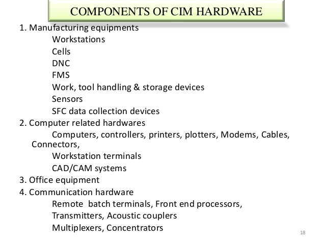 COMPONENTS OF CIM HARDWARE1. Manufacturing equipments         Workstations         Cells         DNC         FMS         W...